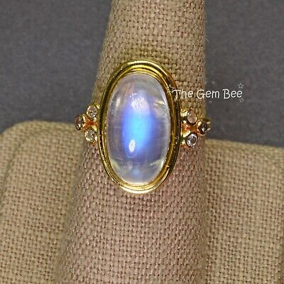 $1500 • Buy 9.55CT 18k Solid Yellow Gold  Blue Flash Moonstone Diamond Ring Size 7