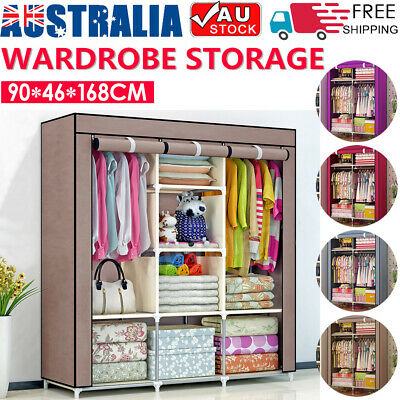 AU33.99 • Buy Canvas Wardrobe Storage Organizer Large Portable Clothes Closet With Shelves AU