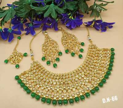 $19.73 • Buy Indian Gold Plated Kundan Green Bridal Jewelry Necklace Set Bollywood Jewelry