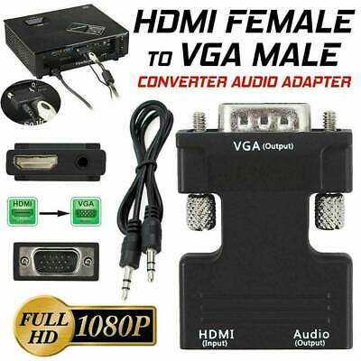 UK 1080P HDMI Female To VGA Male With Audio Output Cable Converter Adapter Lead • 2.14£