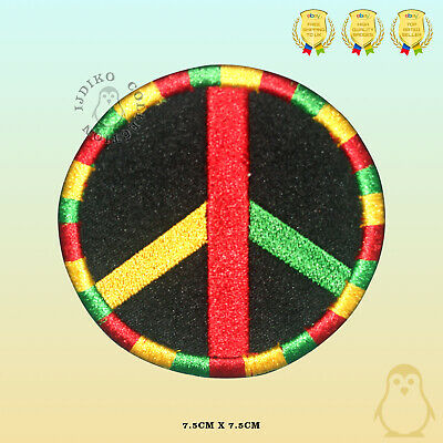 Peace Rasta Flag Embroidered Iron On Sew On Patch Badge For Clothes Etc • 2.19£