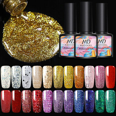 MAD DOLL Nail Art UV Gel Color Polish Soak-off UV LED Glitter Nail Varnish 8ml • 2.99£