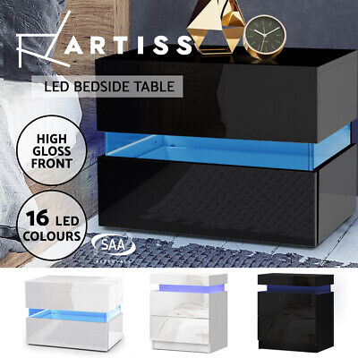 AU119.95 • Buy Artiss Bedside Tables Side Table Drawers RGB LED High Gloss Nightstand Cabinet