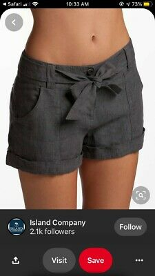 $29.99 • Buy $115 Island Company Dark Gray Linen Tie Front Shorts Size L  Great Condition