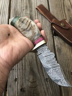 $24.95 • Buy CUSTOM HAND FORGED DAMASCUS STEEL HUNTING KNIFE W/ Bone & Damascus Guard Handle!