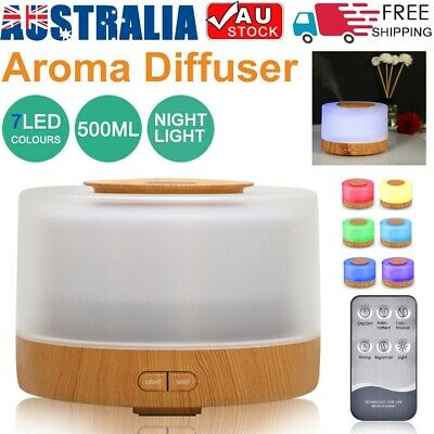 AU28.99 • Buy New 7 LED Aromatherapy Diffuser 500ml Humidifier Aroma Essential Oils Ultrasonic