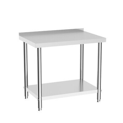Large Commercial Stainless Steel Work Bench Table Kitchen Top W/ No Splash 900mm • 95.95£
