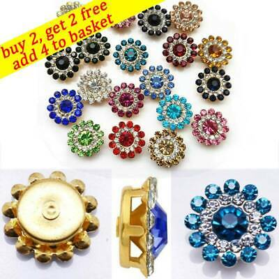 10PCS 14mm Flower-shaped Rhinestone Buttons Crystal Glass Stone Clothes Decor • 3.31£