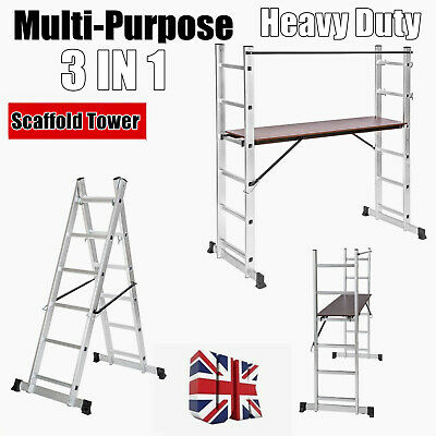£114.79 • Buy DIY Leaning/Step/Work Scaffold Towers Wood Boards Option Ladder 3In1 Folding