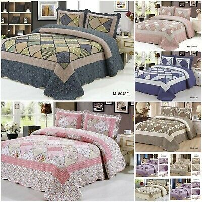 £30.90 • Buy Patchwork Quilted Bedspread Double King Super King Size Embroidered Bedding Set
