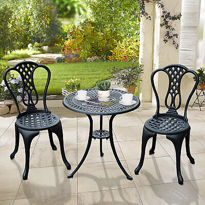 £124.99 • Buy Aluminium Cafe Bistro Set Garden Furniture Table And Chair 3pc Patio Cast Black