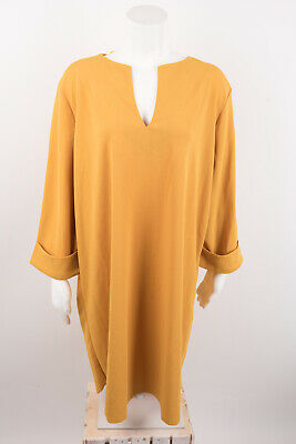 $39.99 • Buy Zara Womens Textured Short A-Line Shift Dress XL Yellow V-Neck 1165/212 NWT