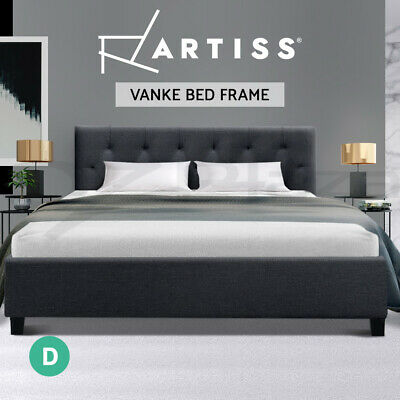 AU85.95 • Buy Artiss Bed Frame Double Full Size Base Mattress Fabric Wooden Charcoal