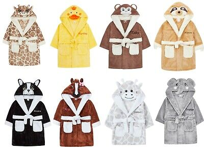 £16.50 • Buy Personalised Baby Dressing Gown Duck Giraffe Monkey Elephant Robe Embroidered