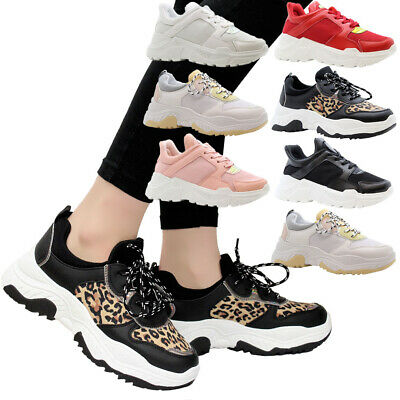 Ladies Platform Chunky Women Comfy Sneaker Plimsolls Running Trainers Shoes Size • 18.99£