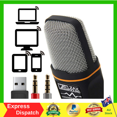 AU43.79 • Buy ZaxSound Professional Condenser Microphone For PC Laptop IPhone IPad Android NEW