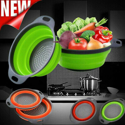 Kitchen Collapsible Fold Silicone Colander Fruit Vegetable Strainer Basket UK • 4.64£