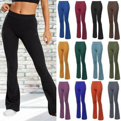 AU19.99 • Buy Womens Boot Cut Flared Yoga Pants Trousers Solid Bootleg Loose Workout Fitness A
