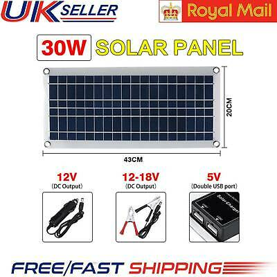 30W 12V Dual USB Flexible Solar Panel Battery Charger Kit Boat Car W/ Controller • 17.88£