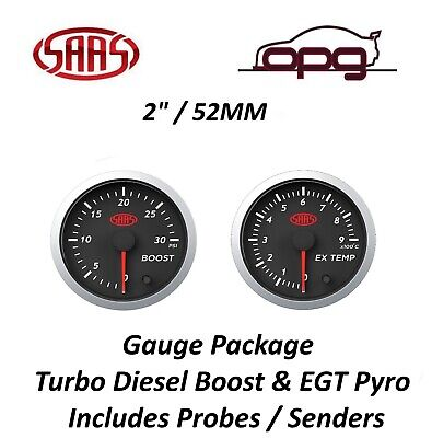 AU119.98 • Buy SAAS Streetline Series Diesel EGT & Boost 30 PSI 52mm Gauge Combo Black Face