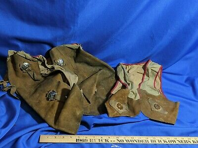 $75 • Buy Cowboy Cowgirl Chaps Vest Kids Leather Studs Western Vtg Toy