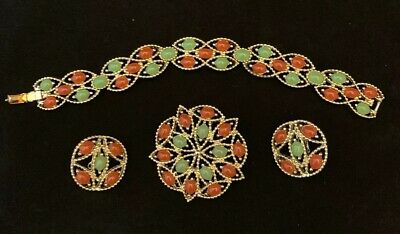 $20 • Buy Red And Green Vintage 1960s Sarah Coventry Acapulco Parure Excellent Condition