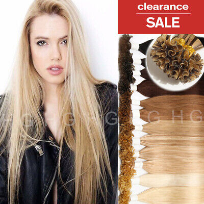 $39.54 • Buy 200S THICK Glue Keratin Pre Bonded Nail U Tip Remy Human Hair Extensions 1g US