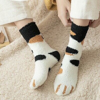 $4.99 • Buy Women Cat Claws Sleeping Socks Cartoon Soft Fluffy Cozy Winter Warm Slipper Gift