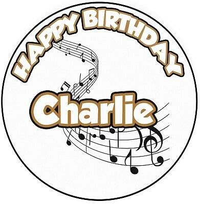£5.49 • Buy Personalised Musical Notes Icing Birthday Cake Topper Decoration 8  Circle