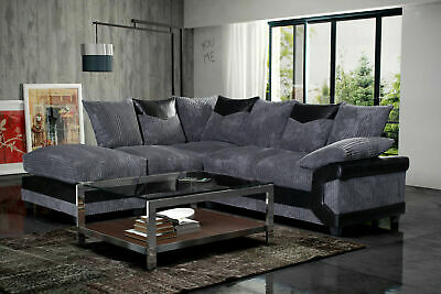 *** BRAND NEW*** DENO Modern Black Grey Fabric Corner Sofa Cheap LEFT & RIGHT • 529£