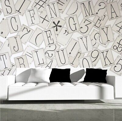 1Wall Typography Letters 64 Piece Collage Wall Paper Mural Creative Design Home  • 29.99£