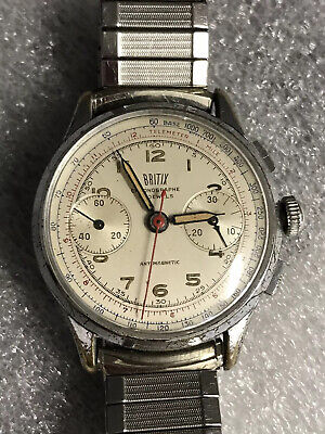 $ CDN216.91 • Buy  Rare Mens Vintage  Swiss Britix Chronograph Watch  Runs