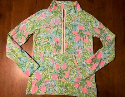 $38 • Buy NWOT Lilly Pulitzer SKIPPER Popover Size S UPF+50 Small 1/2 Zip Top
