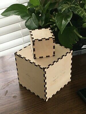 $4.99 • Buy Laser Cut Wooden Box, Wooden Block, Various Sizes, Crafting Supplies
