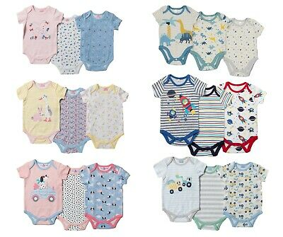 Boys Popper Vests Short Sleeve Bodysuits 3 OR 7 Pack Available Cotton • 7.25£