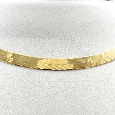 £411.63 • Buy 10K Gold Italy Herringbone Link Mirror Finish Chain Necklace 18 Inch 6mm New