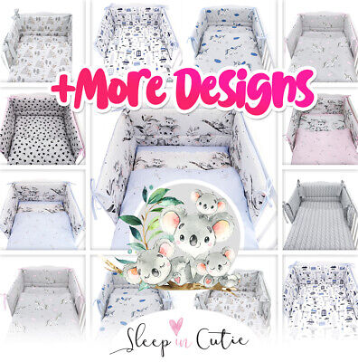 £22.99 • Buy 3or5 PIECES NURSERY- BABY BEDDING SET-BUMPER-PILLOW-QUILT COVERS Fit Cot/COT Bed