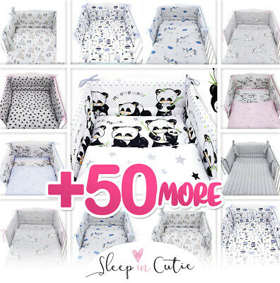 PANDA - NURSERY- BABY BEDDING SET-BUMPER-PILLOW-QUILT COVERS Fit Cot/COT Bed • 24.99£