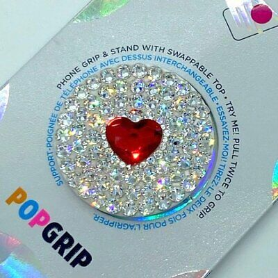 AU44.16 • Buy Heart Bling White Popsocket Phone Grip/Phone Stand Made With Swarovski Crystals