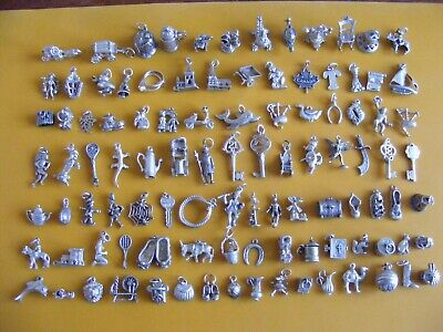 B1 Vintage Sterling Silver Charms Charm Ball Yacht Pixie Well Donkey Car Dog Key • 8.99£