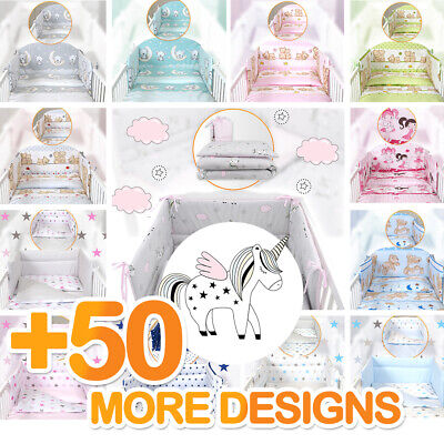 BABY BOY-GIRL NURSERY BEDDING SET-BUMPER-PILLOW-QUILT COVERS Fit Cot/COT Bed • 26.99£