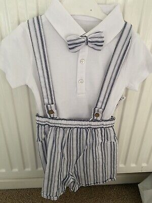 Baby Boys Shorts Dungaree Occassion Outfit, Dickie Bow, 12-18 Months Wedding Etc • 10£