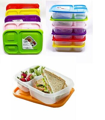 Set Of 4 Plastic Lunch Box Food Container Set Bento Lunch Boxes 3-Compartment • 7.99£