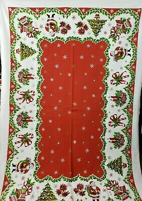 $ CDN79.99 • Buy Vintage Printed Cotton Christmas Tablecloth Santa Candy Canes Shiny Brite Trees