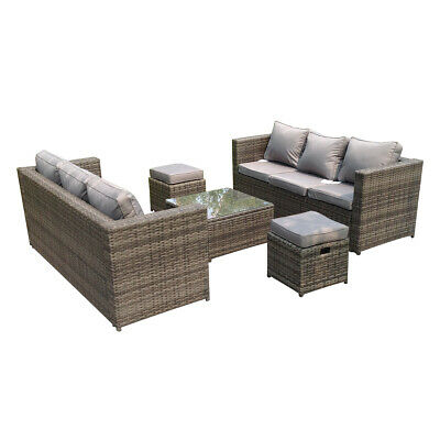 £799 • Buy Lounge Rattan Sofa With Foot Rest Table 8 Seater Patio Outdoor Garden Furniture