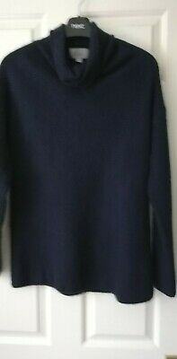 N. PEAL Ladies 100% Cashmere ROLLED Neck Cable Knit Brown Long Jumper - Sz 10-12 • 89.99£