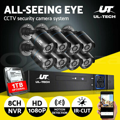 AU320.95 • Buy UL-tech CCTV Home System Security Camera 8CH DVR HD Outdoor IP Day Night 1TB