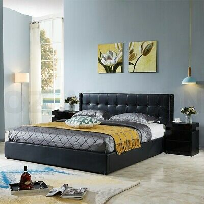 AU259.95 • Buy Double Size PU Leather Bed Frame With Gas Lift Storage Bedroom Furniture Black