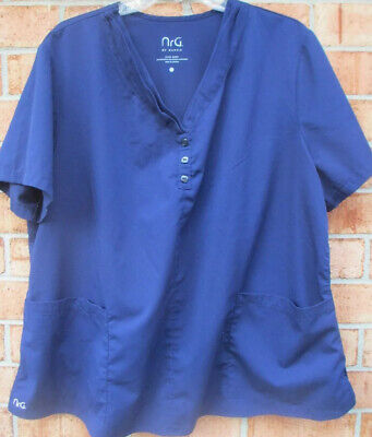 $5 • Buy Womens Size 2XL NrG Barco Solid Scrub Top - Navy