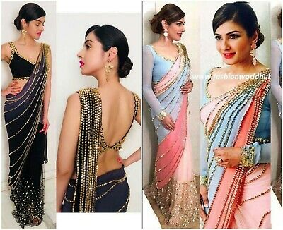 Sari Indian Bollywood Fancy Designer Wedding Saree Lace Border Party With Blouse • 32.45£